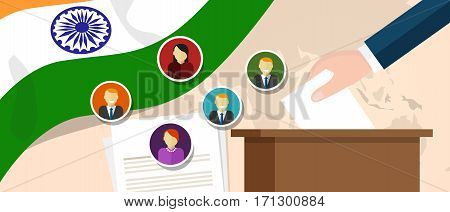 India democracy political process selecting president or parliament member with election and referendum freedom to vote vector