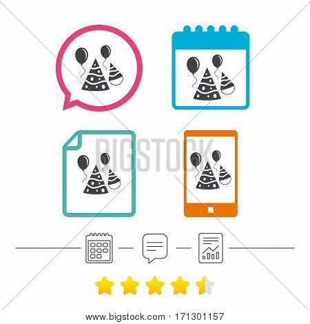 Party hat sign icon. Birthday celebration symbol. Air balloon with rope. Calendar, chat speech bubble and report linear icons. Star vote ranking. Vector