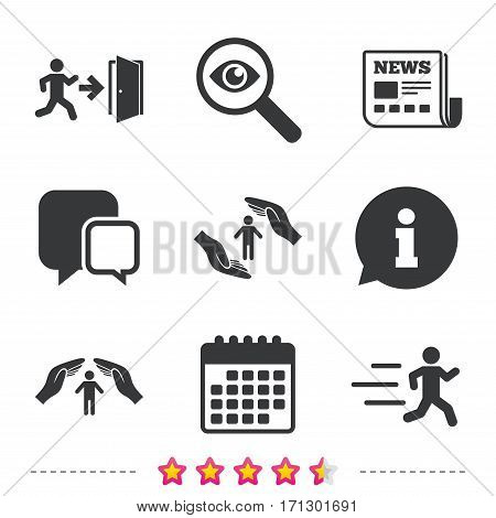 Life insurance hands protection icon. Human running symbol. Emergency exit with arrow sign. Newspaper, information and calendar icons. Investigate magnifier, chat symbol. Vector