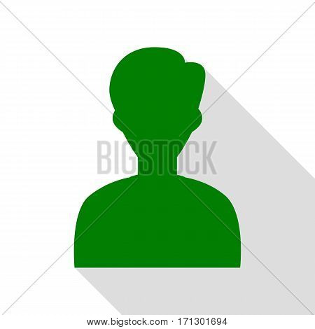 User avatar illustration. Anonymous sign. Green icon with flat style shadow path.