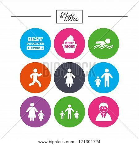 People, family icons. Swimming pool, person signs. Best mom, father and mother symbols. Classic simple flat icons. Vector