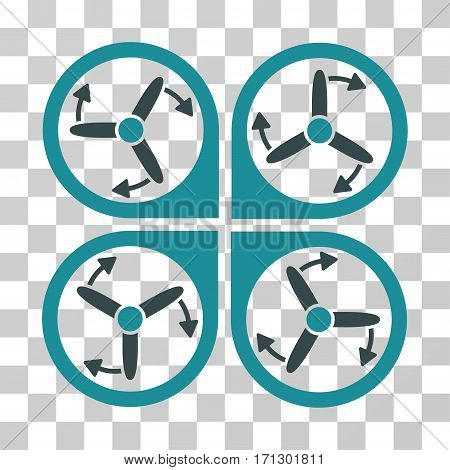 Copter Screws Rotation icon. Vector illustration style is flat iconic bicolor symbol soft blue colors transparent background. Designed for web and software interfaces. poster