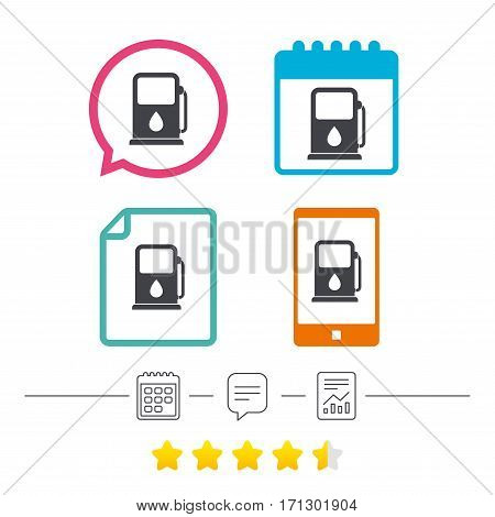 Petrol or Gas station sign icon. Car fuel symbol. Calendar, chat speech bubble and report linear icons. Star vote ranking. Vector