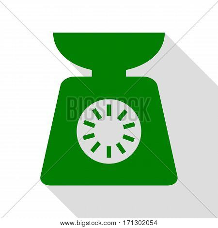 Kitchen scales sign. Green icon with flat style shadow path.