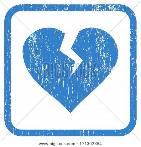Heart Break rubber watermark. Vector icon symbol inside rounded rectangle with grunge design and unclean texture. Stamp seal illustration. Unclean cobalt ink sticker on a white background.