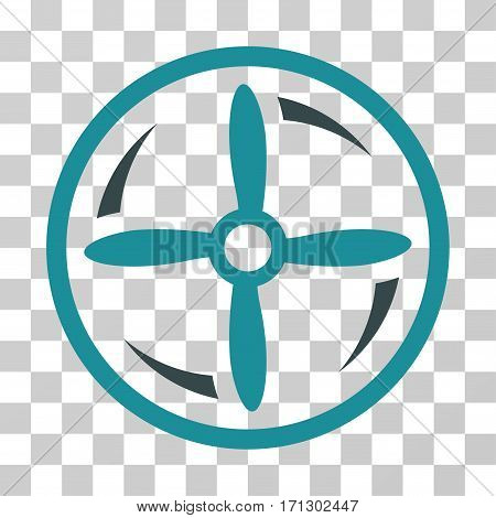 Drone Screw Rotation icon. Vector illustration style is flat iconic bicolor symbol soft blue colors transparent background. Designed for web and software interfaces.