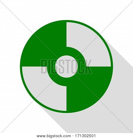 Vector CD or DVD sign. Green icon with flat style shadow path.