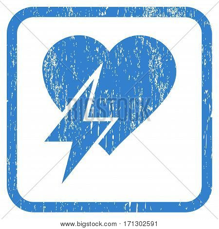 Heart Shock rubber watermark. Vector pictogram symbol inside rounded rectangle with grunge design and unclean texture. Stamp seal illustration. Unclean cobalt ink sign on a white background.