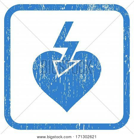 Heart Shock Strike rubber watermark. Vector pictogram symbol inside rounded rectangle with grunge design and dirty texture. Stamp seal illustration. Unclean cobalt ink sticker on a white background.