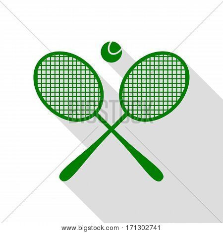 Tennis racket sign. Green icon with flat style shadow path.