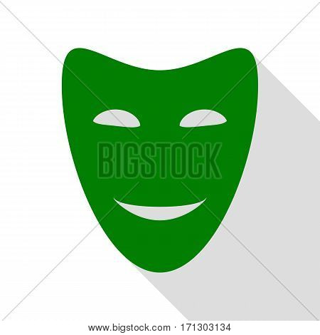 Comedy theatrical masks. Green icon with flat style shadow path.