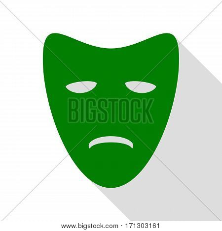 Tragedy theatrical masks. Green icon with flat style shadow path.