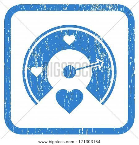 Love Gauge rubber watermark. Vector icon symbol inside rounded rectangular frame with grunge design and scratched texture. Stamp seal illustration. Unclean cobalt ink emblem on a white background.