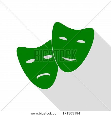 Theater icon with happy and sad masks. Green icon with flat style shadow path.