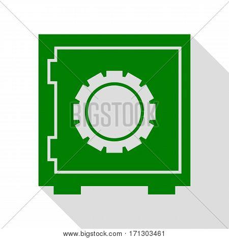 Safe sign illustration. Green icon with flat style shadow path.