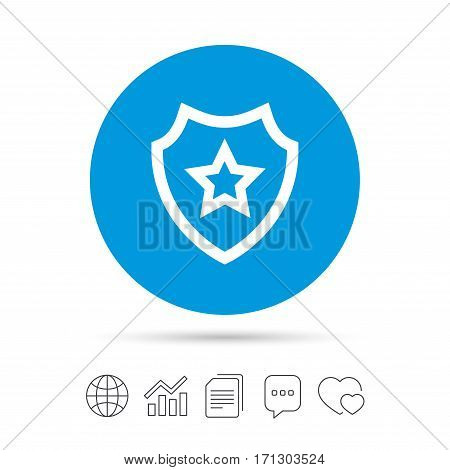 Shield with star icon. Favorite protection symbol. Copy files, chat speech bubble and chart web icons. Vector
