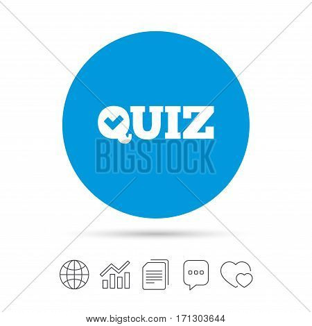 Quiz check sign icon. Questions and answers game symbol. Copy files, chat speech bubble and chart web icons. Vector