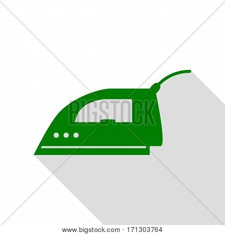 Smoothing Iron sign. Green icon with flat style shadow path.
