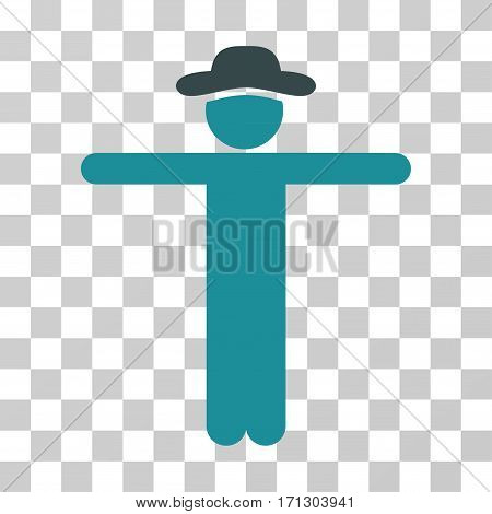 Gentleman Scarescrow icon. Vector illustration style is flat iconic bicolor symbol soft blue colors transparent background. Designed for web and software interfaces.