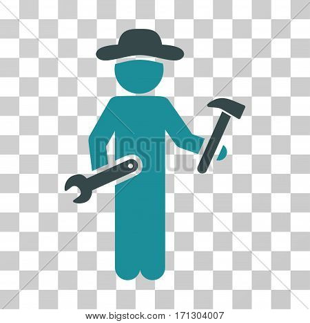 Gentleman Serviceman icon. Vector illustration style is flat iconic bicolor symbol soft blue colors transparent background. Designed for web and software interfaces.