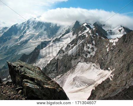 Snow-covered mountain peaks near the gorge Adyr-Su. Caucasus mountains, Russia