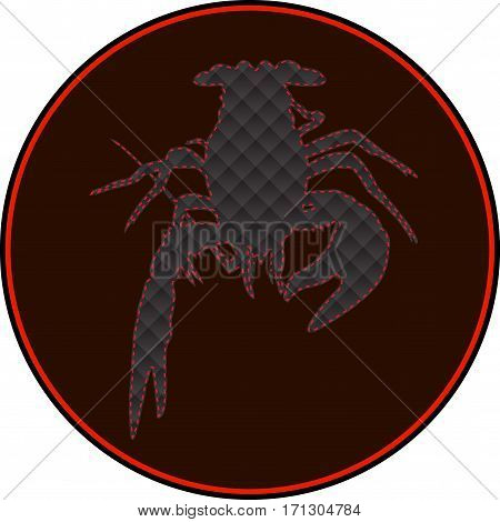 Leibo County, label, Lobster, cancer icon, crawfish silhouette. Vector illustration. Logo, graphics seafood Marine reptile Template for design