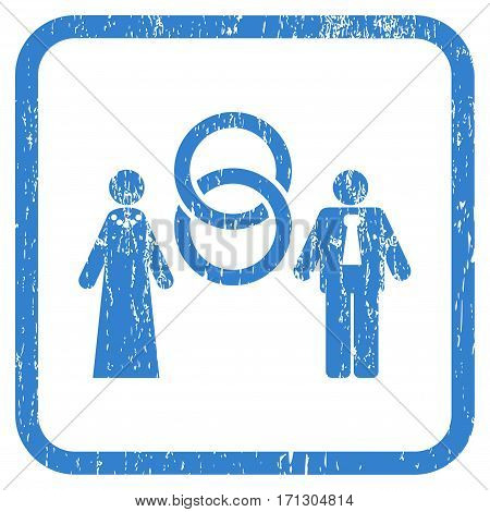 Marriage Persons rubber watermark. Vector pictogram symbol inside rounded rectangular frame with grunge design and unclean texture. Stamp seal illustration.