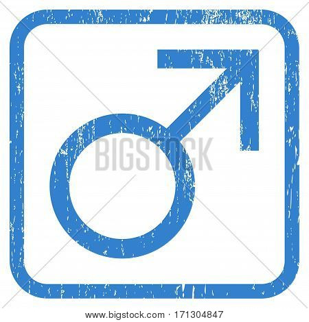 Mars Male Symbol rubber watermark. Vector icon symbol inside rounded rectangle with grunge design and unclean texture. Stamp seal illustration. Unclean cobalt ink emblem on a white background.