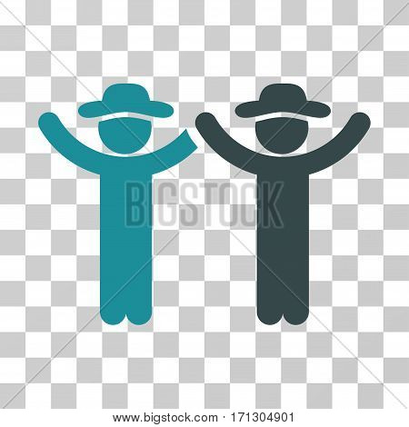 Hands Up Gentlemen icon. Vector illustration style is flat iconic bicolor symbol soft blue colors transparent background. Designed for web and software interfaces.