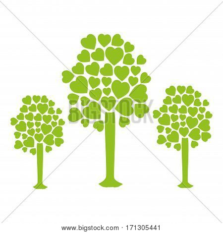 set collection trees with leafy branches in heart shape form vector illustration