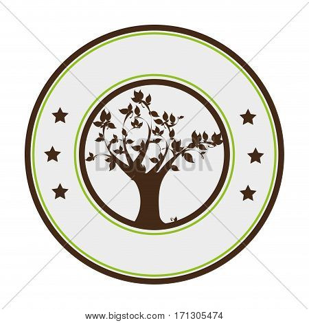 circular border with leafy tree plant vector illustration