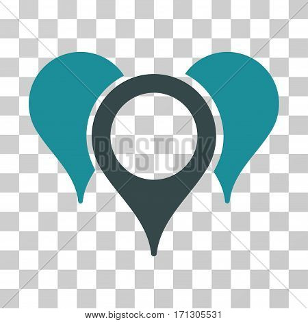 Map Pointers icon. Vector illustration style is flat iconic bicolor symbol soft blue colors transparent background. Designed for web and software interfaces.