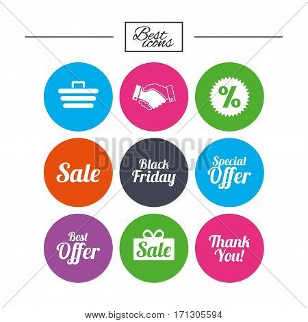 Sale discounts icon. Shopping, handshake and black friday signs. Special offer symbols. Classic simple flat icons. Vector