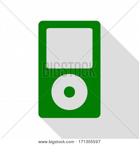 Portable music device. Green icon with flat style shadow path.
