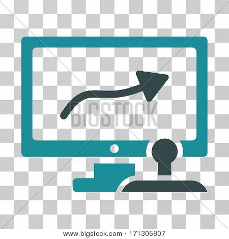 Path Control Monitor icon. Vector illustration style is flat iconic bicolor symbol soft blue colors transparent background. Designed for web and software interfaces.