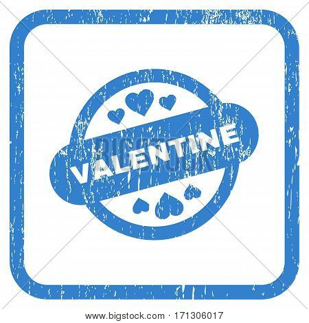 Valentine Stamp Seal rubber watermark. Vector pictogram symbol inside rounded rectangle with grunge design and dirty texture. Stamp seal illustration. Unclean cobalt ink sign on a white background.
