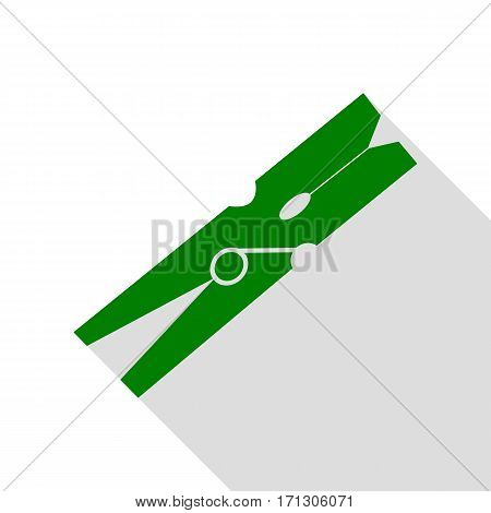 Clothes peg sign. Green icon with flat style shadow path.