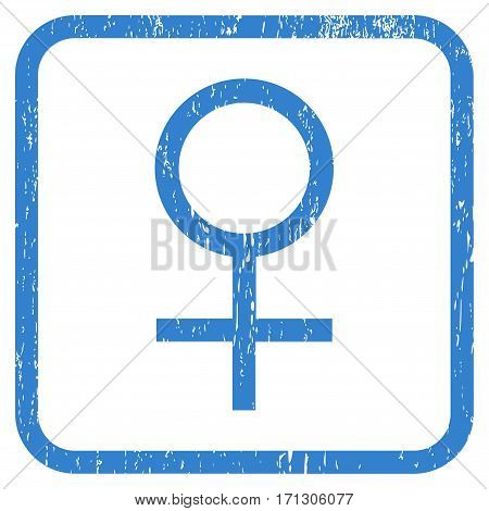 Venus Female Symbol rubber watermark. Vector pictogram symbol inside rounded rectangle with grunge design and scratched texture. Stamp seal illustration. Unclean cobalt ink sign on a white background.