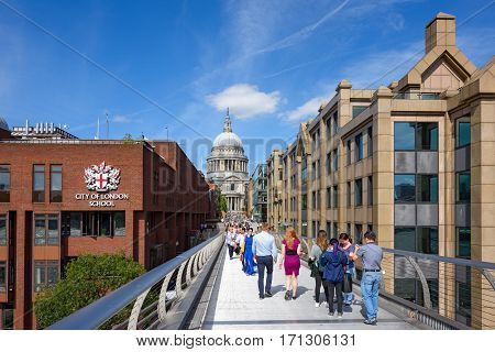 LONDON/ UNITED KINGDOM - SEPTEMBER 1. Millennium House, City of London School and St Paul's Cathedral - view from Millenium Bridge on September 1, 2016 in London, United Kingdom.