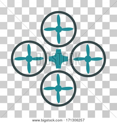 Quadcopter icon. Vector illustration style is flat iconic bicolor symbol soft blue colors transparent background. Designed for web and software interfaces.