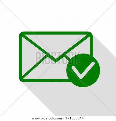 Mail sign illustration with allow mark. Green icon with flat style shadow path.