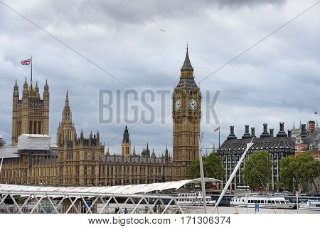 Portcullis House and Palace of Westminster with Elizabeth Tower. London, UK.
