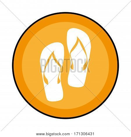 circular border with beach flip-flops vector illustration
