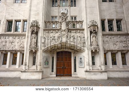 Entrace door of the Supreme Court of the United Kingdom on September 4, 2016 in London. UK