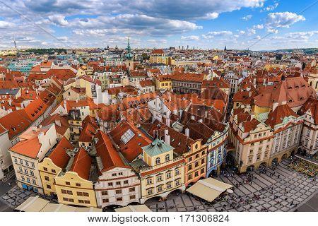 Prague City Skyline At Old Town Square, Prague, Czech Republic