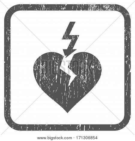 Break Heart rubber watermark. Vector pictogram symbol inside rounded rectangle with grunge design and scratched texture. Stamp seal illustration. Unclean gray ink sticker on a white background.
