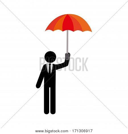 pictogram executive man with umbrella vector illustration