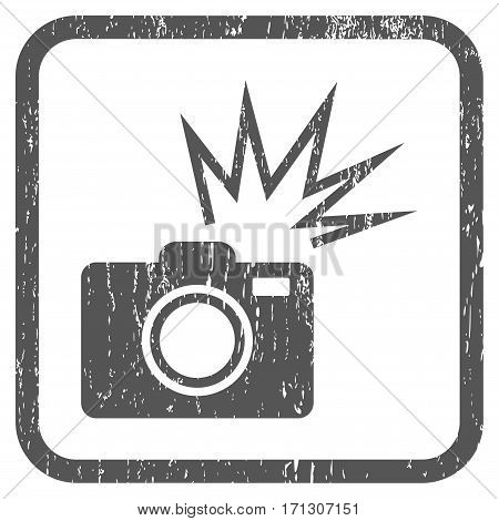 Camera Flash rubber watermark. Vector pictogram symbol inside rounded rectangular frame with grunge design and dirty texture. Stamp seal illustration. Unclean gray ink sticker on a white background.