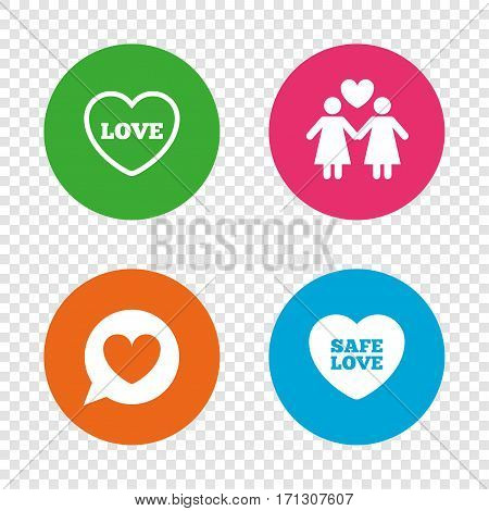 Lesbians couple sign. Speech bubble with heart icon. Female love female. Heart symbol. Round buttons on transparent background. Vector