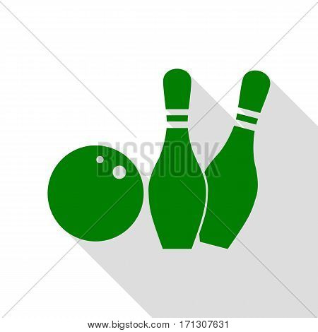 Bowling sign illustration. Green icon with flat style shadow path.